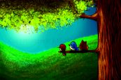 A brightly colored illustration of rolling hills, with a big tree in the right foreground. Perched on a low branch are (from left to right), a very round red bird vaguely resembling a woodpecker, an obvious bluebird shaped like a rounded triangle, and an exceedingly round furry critter, resembling a cross between a hamster and a squirrel. They are all looking towards the horizon.