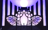 Illustration of a man happening upon a very weird purple gate.