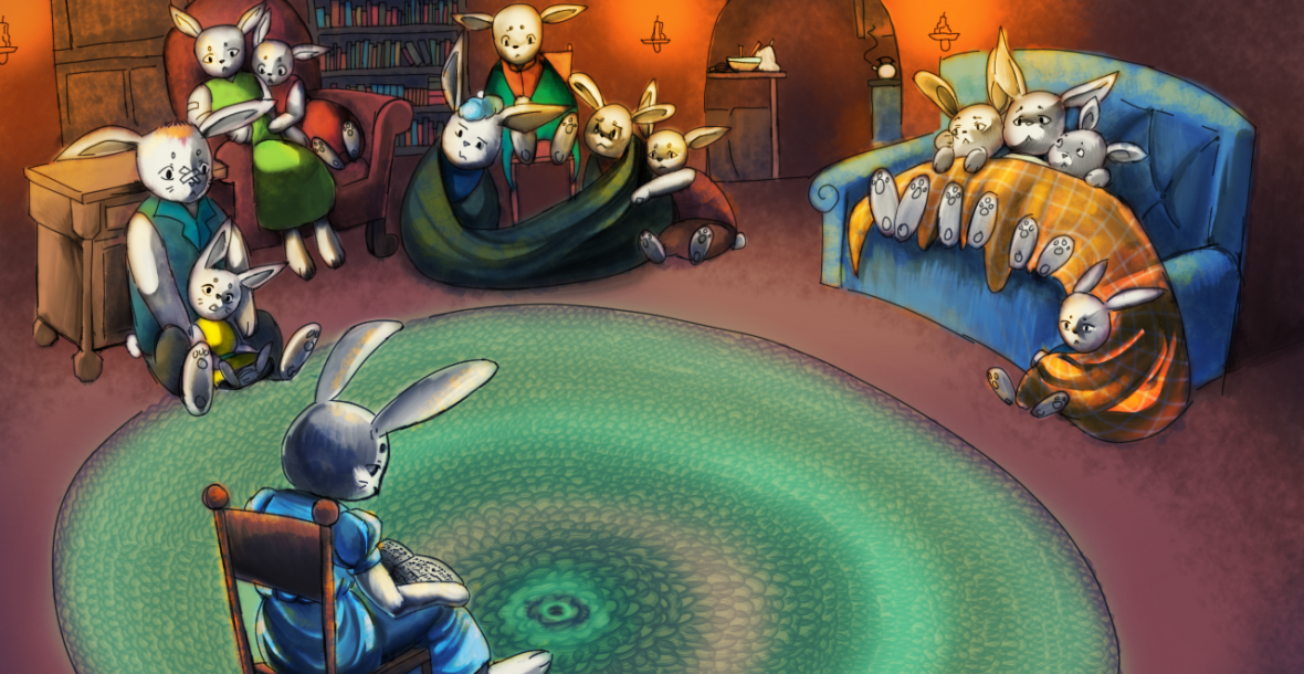 "Illustration for ""Mean 'Ol Mr. Fox"". A family of 12 bunny children sit around their underground living room while mom reads to them from a book she has in her lap."