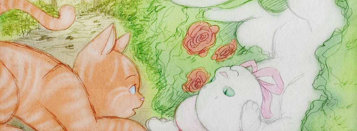 """Illustration for """"Tommy Cat Gives the Tour"""". There are two cats on a garden path. On the right is a white cat in a pink bonnet, turned upside-down and stuck in some rose bushes, smiling playfully. On the left is an orange tabby tomcat, who is staring at the white cat in amazement that she's not bothered by the thorns. It's warm and sunny and altogether very cozy-looking."""
