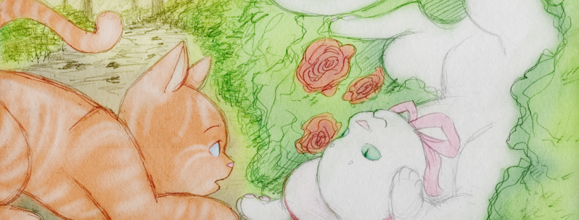 "Illustration for ""Tommy Cat Gives the Tour"". There are two cats on a garden path. On the right is a white cat in a pink bonnet, turned upside-down and stuck in some rose bushes, smiling playfully. On the left is an orange tabby tomcat, who is staring at the white cat in amazement that she's not bothered by the thorns. It's warm and sunny and altogether very cozy-looking."