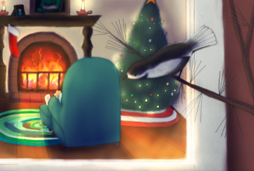 An illustration done in graphite and digital media. A chickadee sits on a thin branch, looking in on the living room of the man who feeds her. He's sitting in an armchair in front of the fire, alone, with his back to us, There is a solitary stocking on the mantel and a Christmas tree in the rightmost corner of the room, with no presents under it.