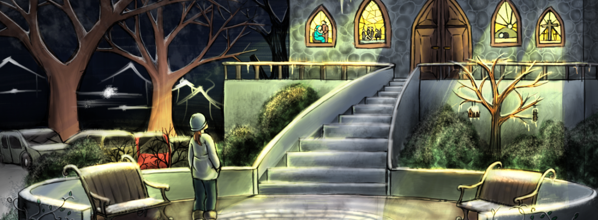 "Illustration for ""Homecoming, Part 1"". A picture of a young woman standing in the courtyard of an old, Catholic-built church, with stained-glass windows. It's wintertime, and there's snow on everything, in addition to the dark night sky."